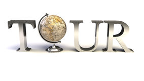 Tour type with Earth globe Stock Photography