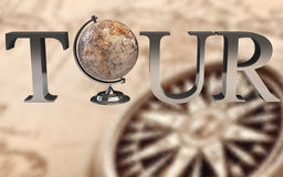 Tour Type With Earth Globe In Place Of  O  Stock Photo