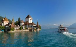 The tour vessel and the castle Stock Photography