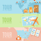 Tour of the world seamless pattern concept. Royalty Free Stock Photography