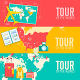 Tour of the world seamless pattern concept. Royalty Free Stock Photos