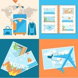 Tour of the world seamless pattern concept. Stock Photo