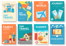 Tour of the world vector brochure set. Travel  icons. Travel posters. Travel booklet. Travel flyer. Flat Travel banners Stock Photo