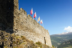Tourbillon Castle in Sion, Switzerland. stock photo