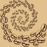 Tourbillon des grains de café illustration stock