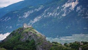 Tourbillon slott i Sion, Schweiz fotografering för bildbyråer