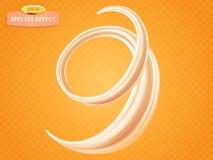 Tourbillonnez la crème ou le lait liquide sur le fond orange Effet spécial d'écoulement de vecteur Élément de conception d'emball illustration stock