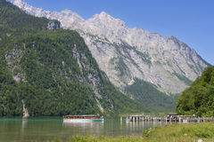 Tourboat in Konigssee in Berchtesgadener Royalty Free Stock Image
