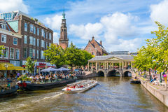 Tourboat on New Rhine canal, Leiden, Netherlands Royalty Free Stock Image