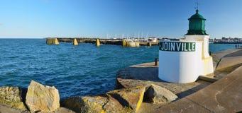 Tourelle de l'entrée dans le port de Joinville en île de Yeu Photographie stock libre de droits