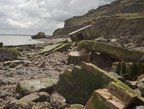 Tourelles de bataille sur le bord de mer Images libres de droits