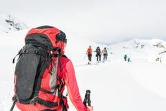 Tourer del esquí en los esquiadores de un grupo Imagen de archivo libre de regalías