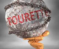 Free Tourette And Hardship In Life - Pictured By Word Tourette As A Heavy Weight On Shoulders To Symbolize Tourette As A Burden, 3d Stock Photo - 181626770
