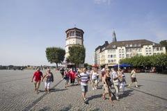 Tourgroup in Dusseldorf, Duitsland Stock Fotografie