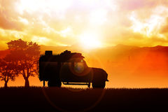 Touring. Illustration of sport utility vehicle (SUV) on off road Stock Photos