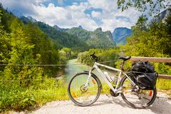 Touring bicycle in Austria. N alps stock image