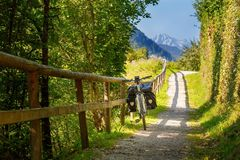 Touring bicycle in Austria. N alps stock photography