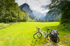 Touring bicycle in Austria. N alps royalty free stock photos