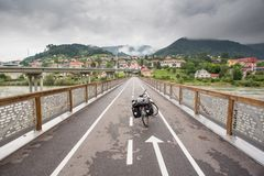 Touring bike on a bridge in Slovenia Stock Image