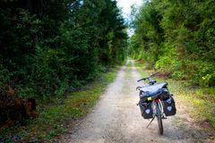 Touring bike on Drau cycle route Royalty Free Stock Images