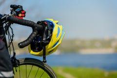 Touring bike with helmet stock photo