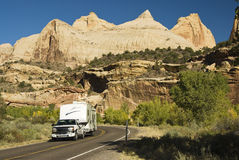 Touring Capital Reef. Recreational vehicle touring Capital Reef national Park in Utah Royalty Free Stock Photo