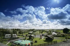Touring caravan park. High view of a caravan park stock photos
