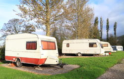 Touring caravans on site Royalty Free Stock Images