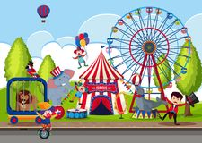 Touring Circus in the Park. Illustration Royalty Free Stock Image