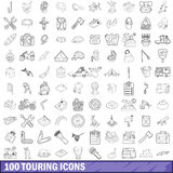 100 touring cons set, outline style. 100 touring icons set in outline style for any design vector illustration vector illustration