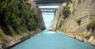 Touring the Corinth Canal Stock Image