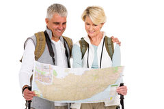 Touring couple tourists map Stock Image