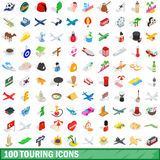 100 touring icons set, isometric 3d style. 100 touring icons set in isometric 3d style for any design vector illustration vector illustration