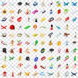 100 touring icons set, isometric 3d style Stock Photography