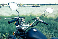 Touring with motorcycle at water Royalty Free Stock Images