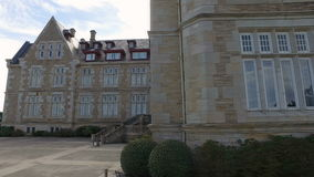 Touring the north facade Palacio de la Magdalena 10 stock footage