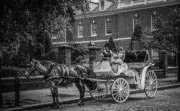 Touring Philadelphia. Horse drawn carriage waiting for tourists in downtown Philadelphia Stock Image