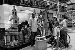 Touring Philadelphia. Tourist bus waiting for tourists in downtown Philadelphia Royalty Free Stock Photos