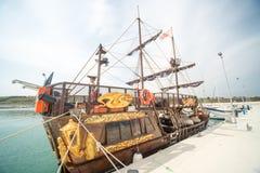 Touring pleasure yacht on the new pier Sarafovo in Bourgas, Bulgaria Stock Photo