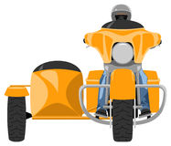 Touring sidecar motorcycle with rider front view. Yellow classic heavy touring sidecar motorcycle with rider wearing helmet and jeans pants front view isolated Stock Photo