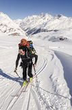 Touring skier in Swiss Alps Royalty Free Stock Photo