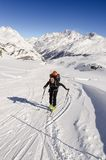 Touring skier in Swiss Alps Stock Photography