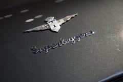 Touring Superleggera, Lamborghini 400GT. St.Petersburg, Russia - November 6, 2017: Emblem of Touring Superleggera is mounted on a hood of Lamborghini 400GT sport Stock Image
