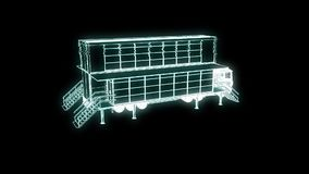 Touring Truck Car in Hologram Wireframe Style. Nice 3D Rendering. 