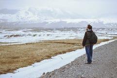 Touris bärande ryggsäck och stå på den lantliga vägen fotografering för bildbyråer