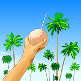 Touris hand hold coconut with straw over palm tree Royalty Free Stock Photos
