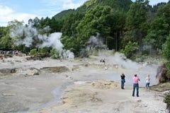 Tourisgebied van de Fumarole van de Azoren Stock Afbeeldingen
