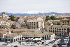 Tourism, aerial views of the Spanish city of Segovia. Ancient Ro Royalty Free Stock Photography