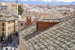 Tourism, aerial views of the Spanish city of Segovia. Ancient Ro Stock Photos