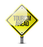 Tourism ahead yellow sign illustration design Royalty Free Stock Photography